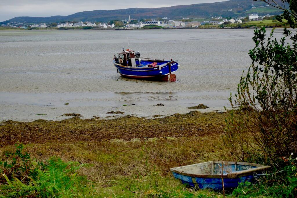 The photo of Dunfanaghy Bay shows the tide out and a blue fishing boat with red underpaint run aground on the muddy floor of the dry bay.  In the distance is the sprawling settled of Dunfanaghy with rolling hills in the background.  The foreground of the shot shows the grassy bank of the bay with a small blue row boat.