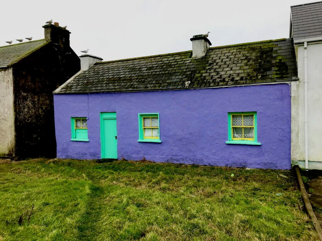 A traditional Irish home on Tory Island in County Donegal.  The house is a vibrant purple with neon green trim and the three windows are framed with yellow color.  The roof is slate with moss sporadically clinging to the surfaces and seagulls sit on top of the chimneys.  The neighboring home is darker soot like black.