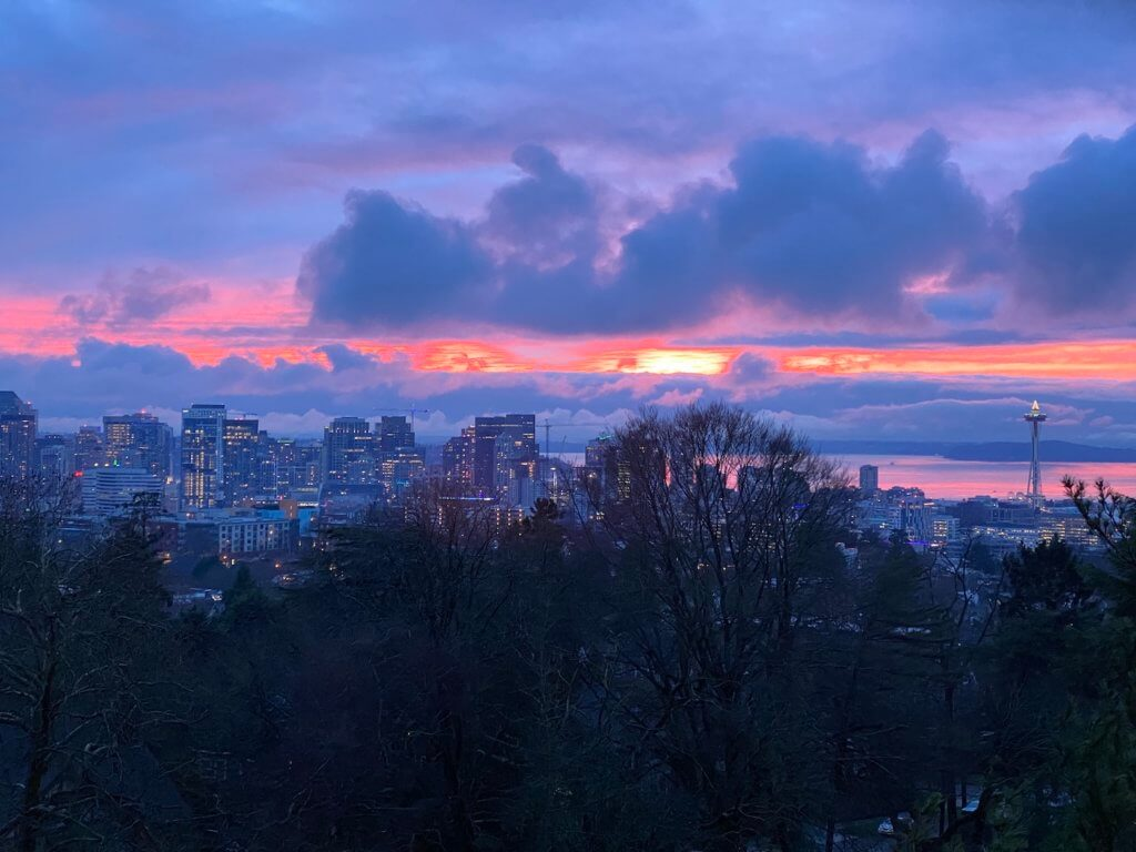 A beautiful winter scene viewing from the Volunteer Park Water Tower at sunset. This view of Seattle shows dark deciduous and fir trees with a layer of dusk lighted downtown office buildings while the bright orange sun sets amongst purple and blue clouds.
