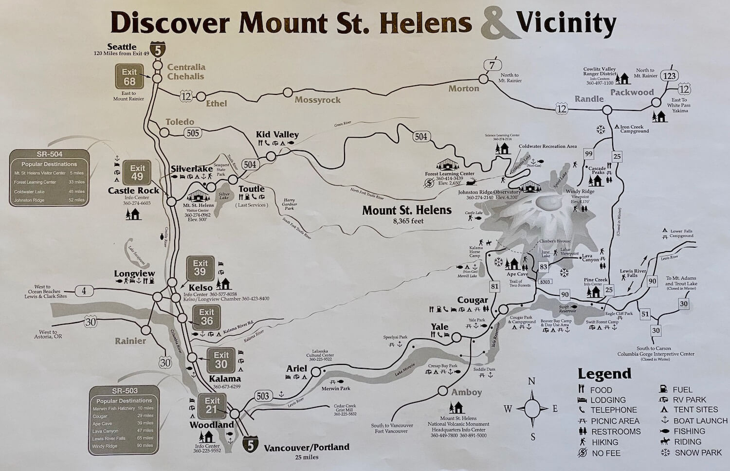 A forestry service map featuring the Mount St. Helens area, including roads and recreation areas, as well as reference points onward to both Seattle and Portland.