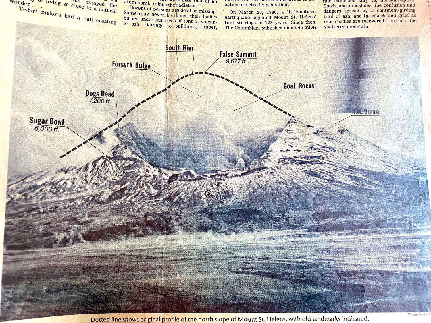 A newspaper clipping on display in the Mt. St. Helens Visitor Center showing the destruction of the volcanic blast that occurred on May 18, 1980, including the portion of the mountain that was effectively erased in the blast.
