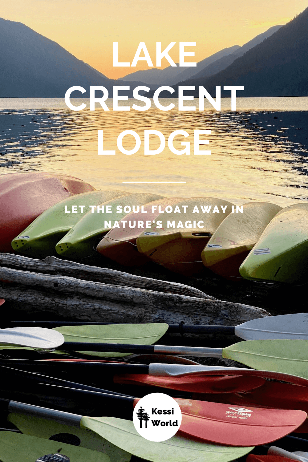 This Pinterest tile shows a pile of different colored kayaks and the corresponding paddles closed up for the night as the sun sets behind the high mountains surrounding peaceful Lake Crescent. The yellowish sunset glow covers the surface of the lake.