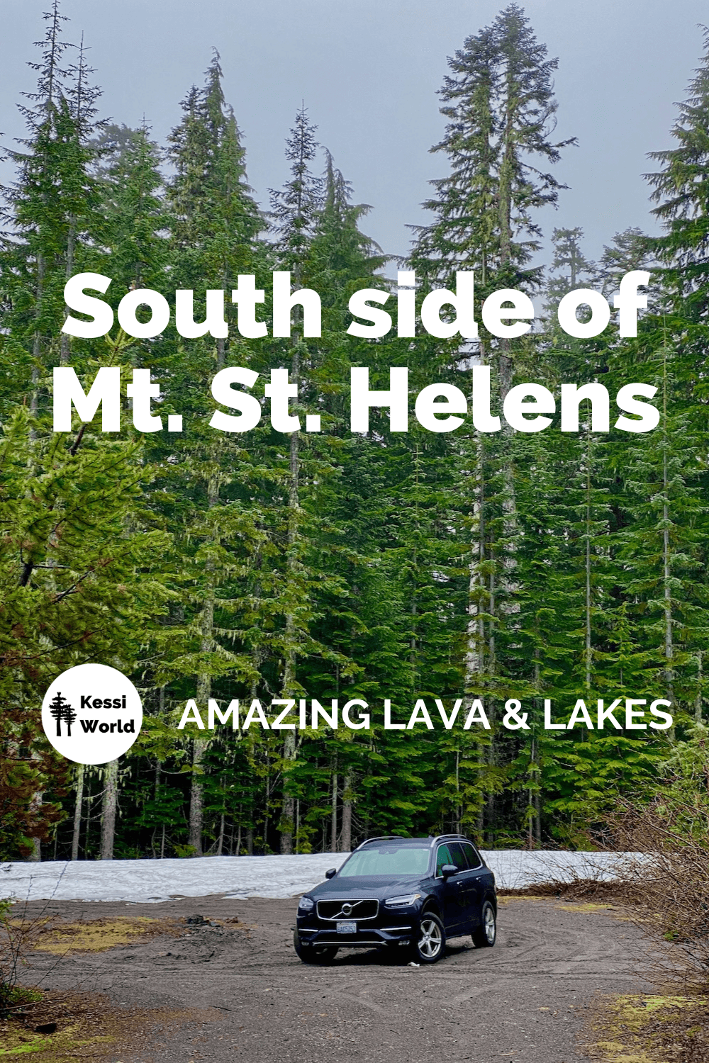 This Pinterest tile shows a A blue Volvo SUV is parked in front of a forest of tall evergreen trees with snow around the base. The sky is blue and the vehicle is slightly turned on a gravel surface. This makes a great day trip from Portland Oregon