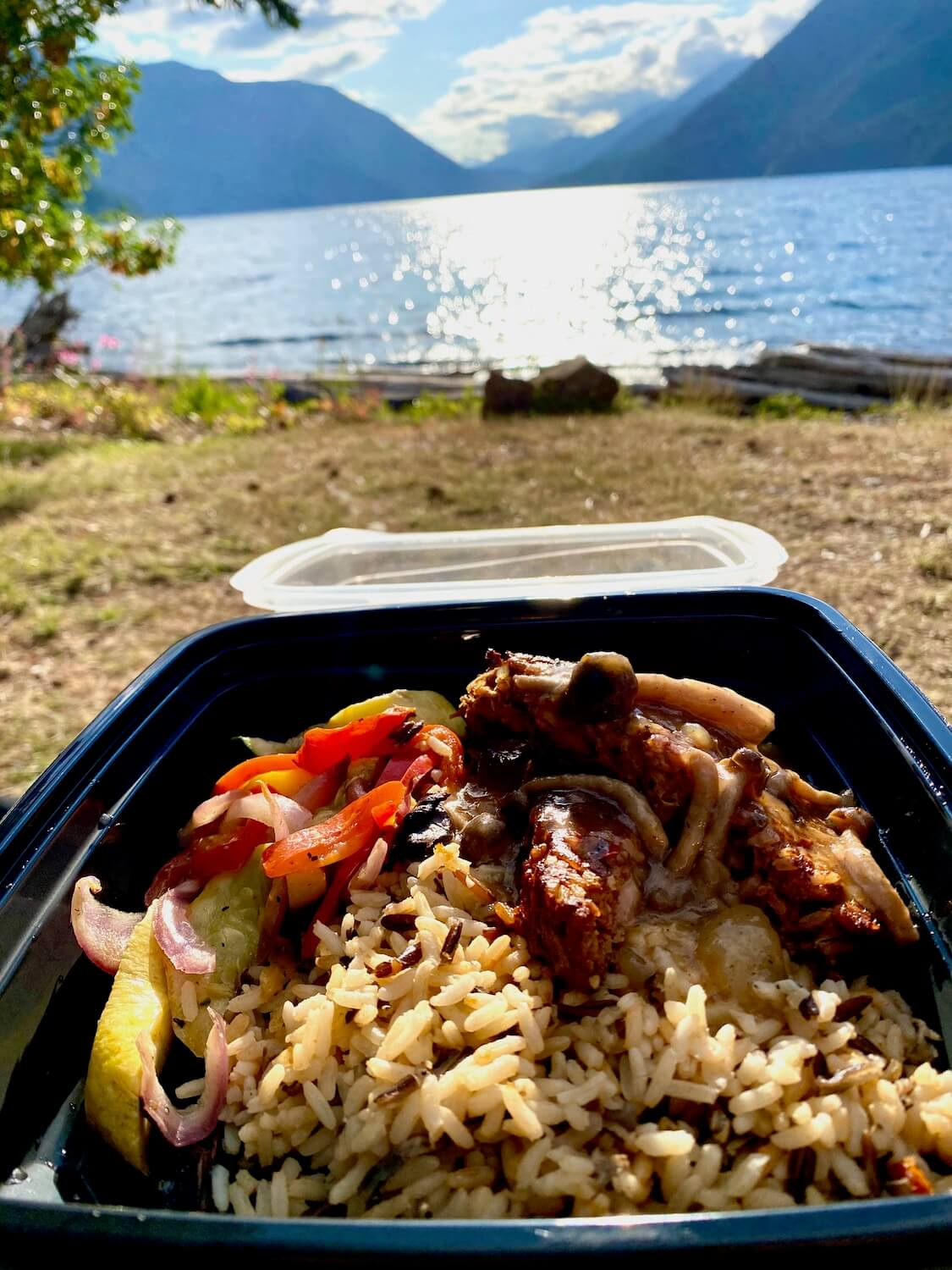 Take out from Lake Crescent Lodge looks like this black plastic container with rice, vegetables and vegan meat loaf. This is held in from of the lake with the sun glowing in the out of focus distance.