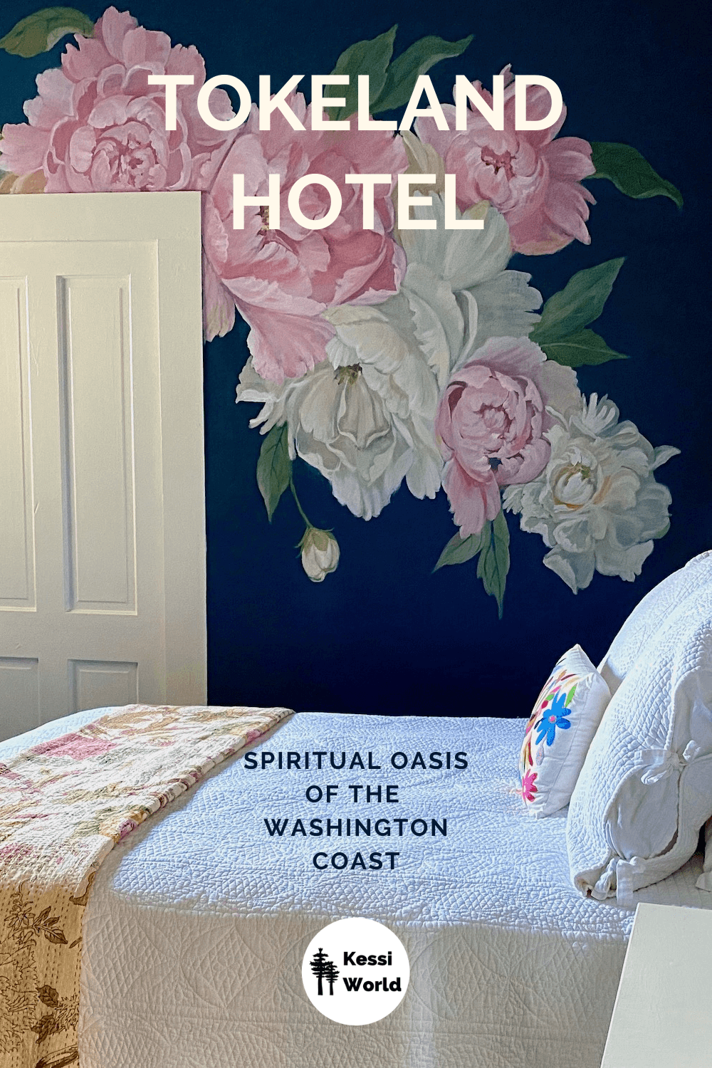 This Pinterest tile shows the interior of the Tokeland Hotel, which is the oldest continuous running hotel on the Washington Coast. This room has a bed with white linens and dark blue walls etched with watercolor peony flowers that are pink and white. There is a white door on the wall as well.
