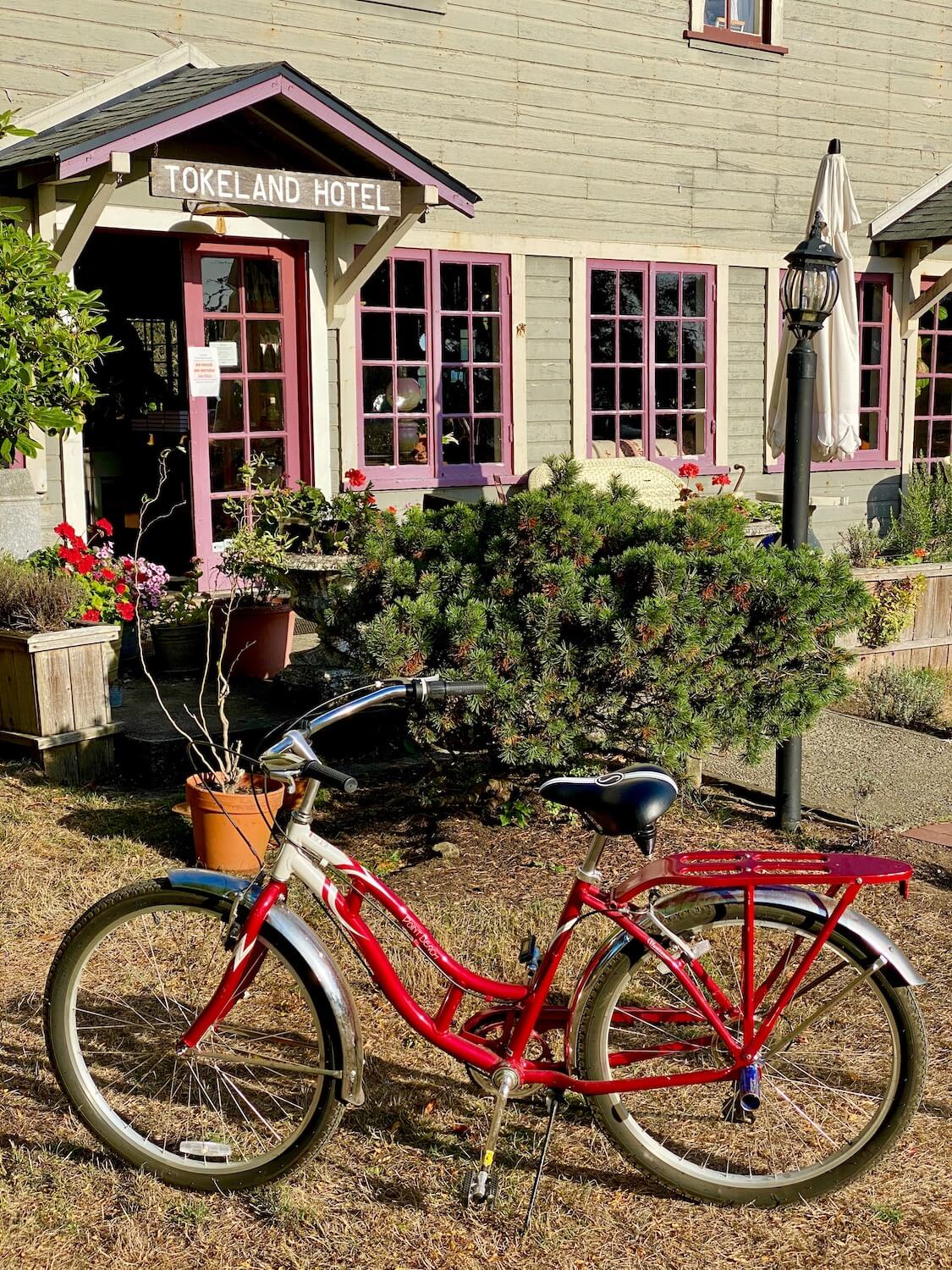 A bright red bicycle sits propped up outside the entrance to the Tokeland Hotel. A board with white letting welcomes guests through the front door and there are several eight paned windows with purple trim along the first floor of the old bundling with wood panel siding.