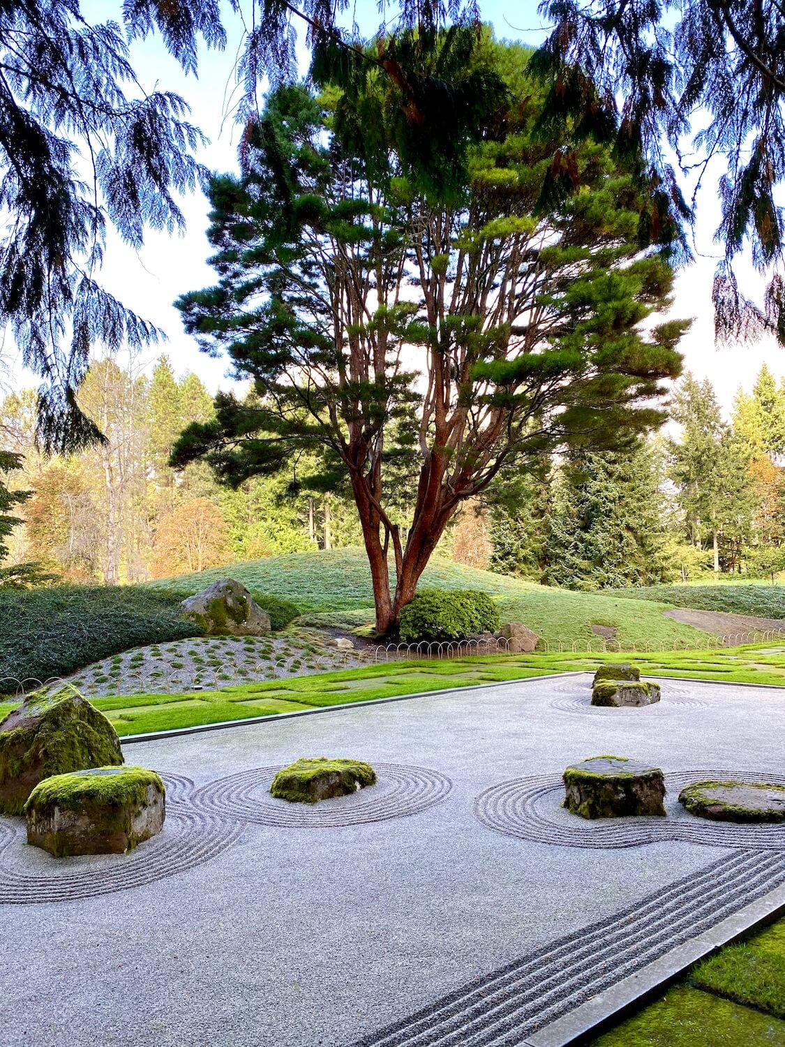 The garden outside the Japanese Guest House on the property of the Bloedel Reserve offers a peaceful escape in the zen of the raked gravel garden, surrounded by green squares of grass and alternating concrete.