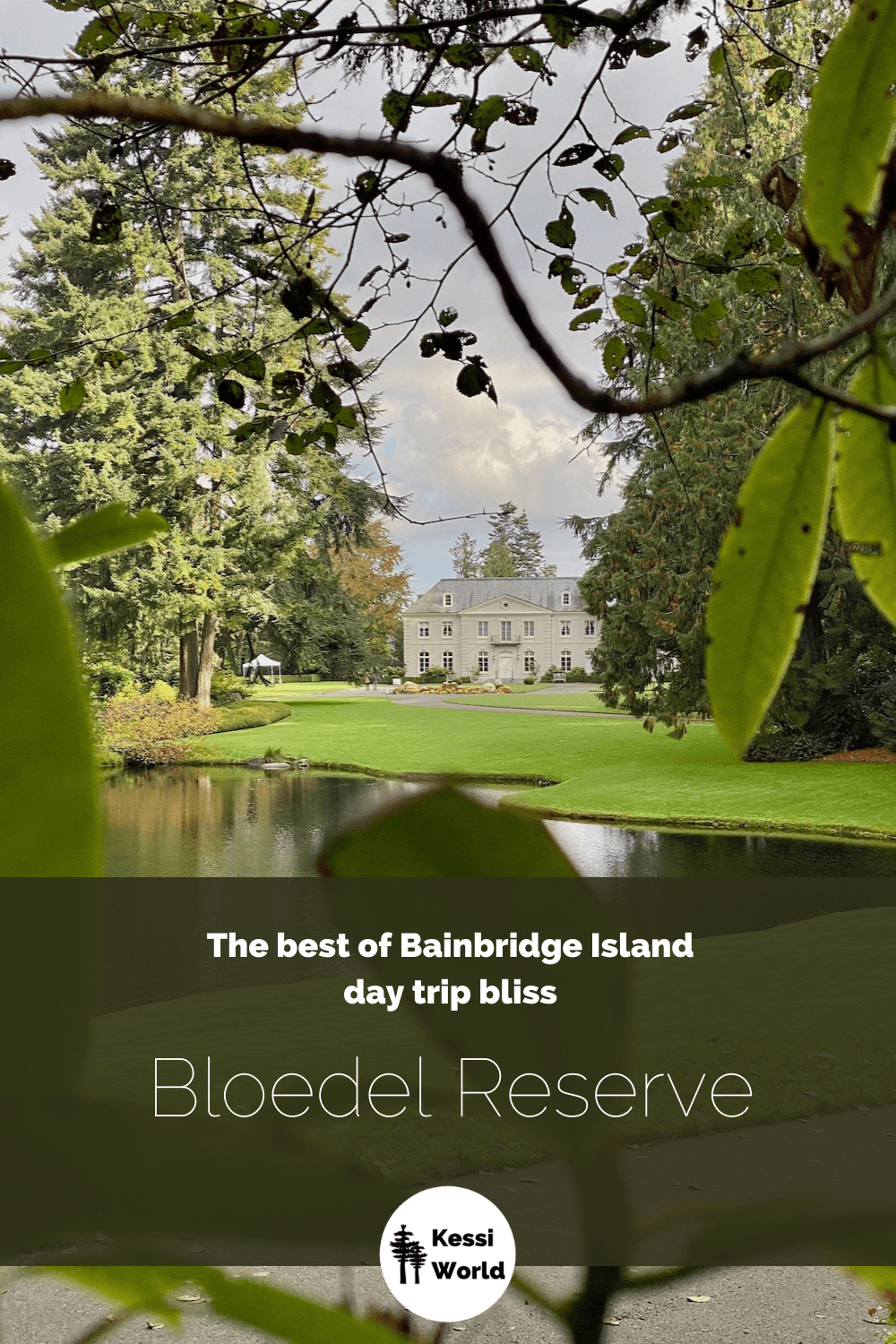 This Pinterest tile shows The Residence at Bloedel Reserve on Bainbridge Island sits regally above a large grassy lawn that surrounds a peaceful lake.