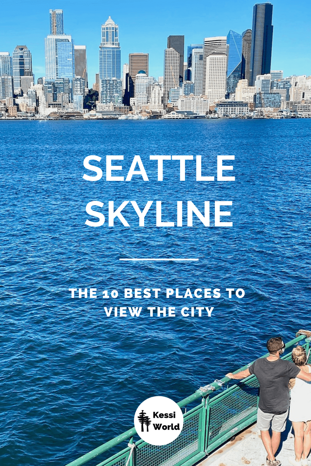 This Pinterest tile offers a sweeping view of the downtown of Seattle as viewed from the water aboard a Washington State Ferry. The green railing of the ferry boat has a male and female couple standing and looking out over the light blue Puget Sound water. The sky is light blue and a few prominent buildings such as the Columbia Center.