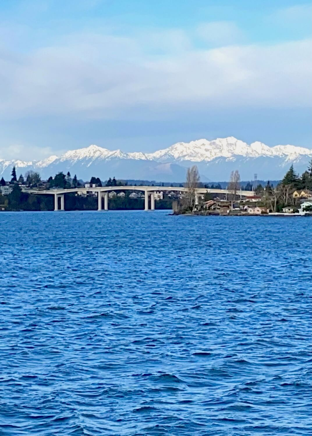 A view of the rising Olympic Mountains from a Washington State Ferry arriving at Bremerton. The mountains are covered with fresh white snow and the town below is situated on the blue water of the Salish Sea.