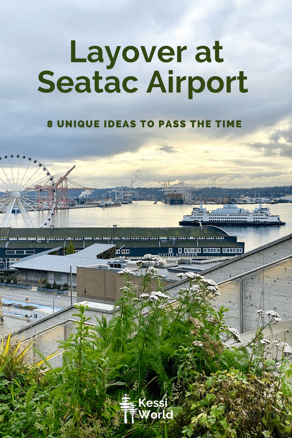 This Pinterest Pin highlights things to do with a layover at Seatac Airport.  In this scene there is the Seattle Great Wheel layered in by the Seattle Aquarium and a ferry gliding into port along the water.