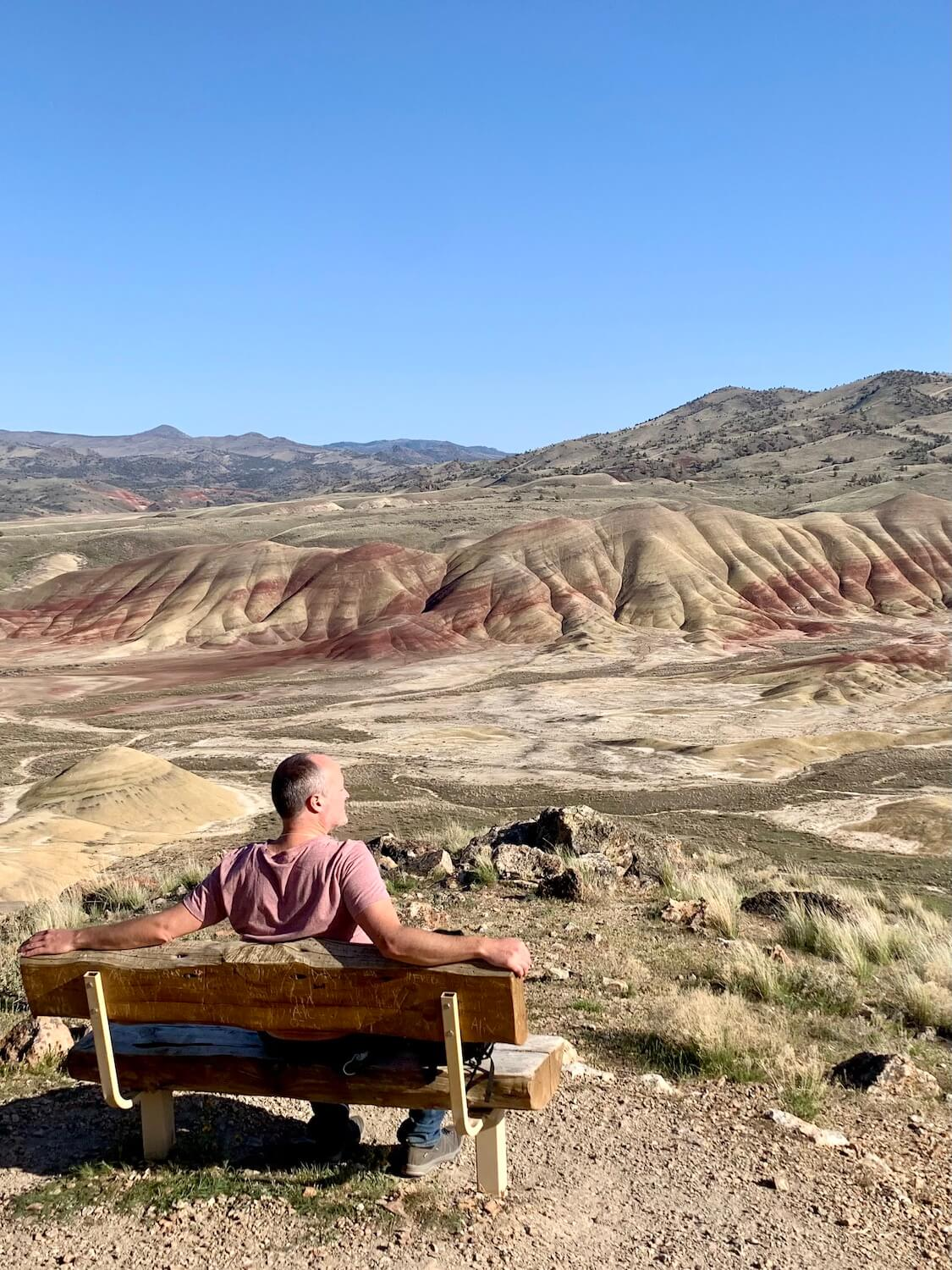 Matthew Kessi sits on a bench looking out toward the largest expanse of colored hills in the Painted Hills monument, which is part of the John Day Fossil Beds National Park.  He is wearing a purple t-shirt and appears to be resting while looking at the beautiful view in front of him.  The green rolling hills cascade toward a blue sky above the horizon.