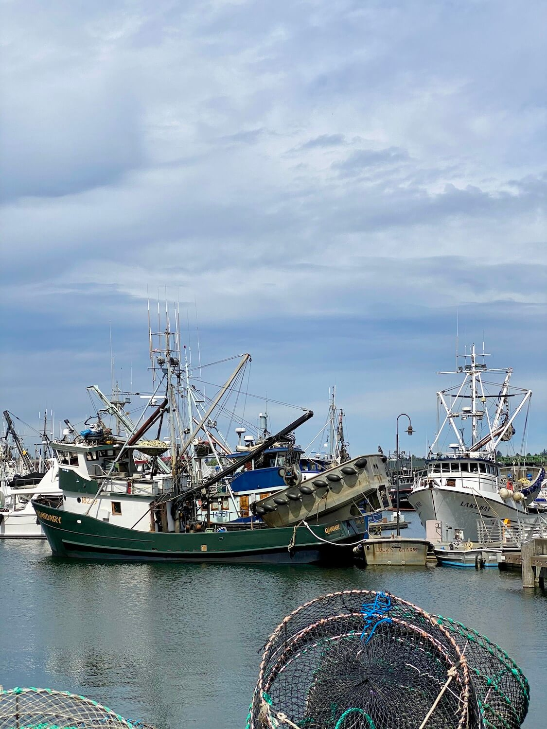 A variety of fishing vessels come together at the marina, adorned with fishing nets and other gear.