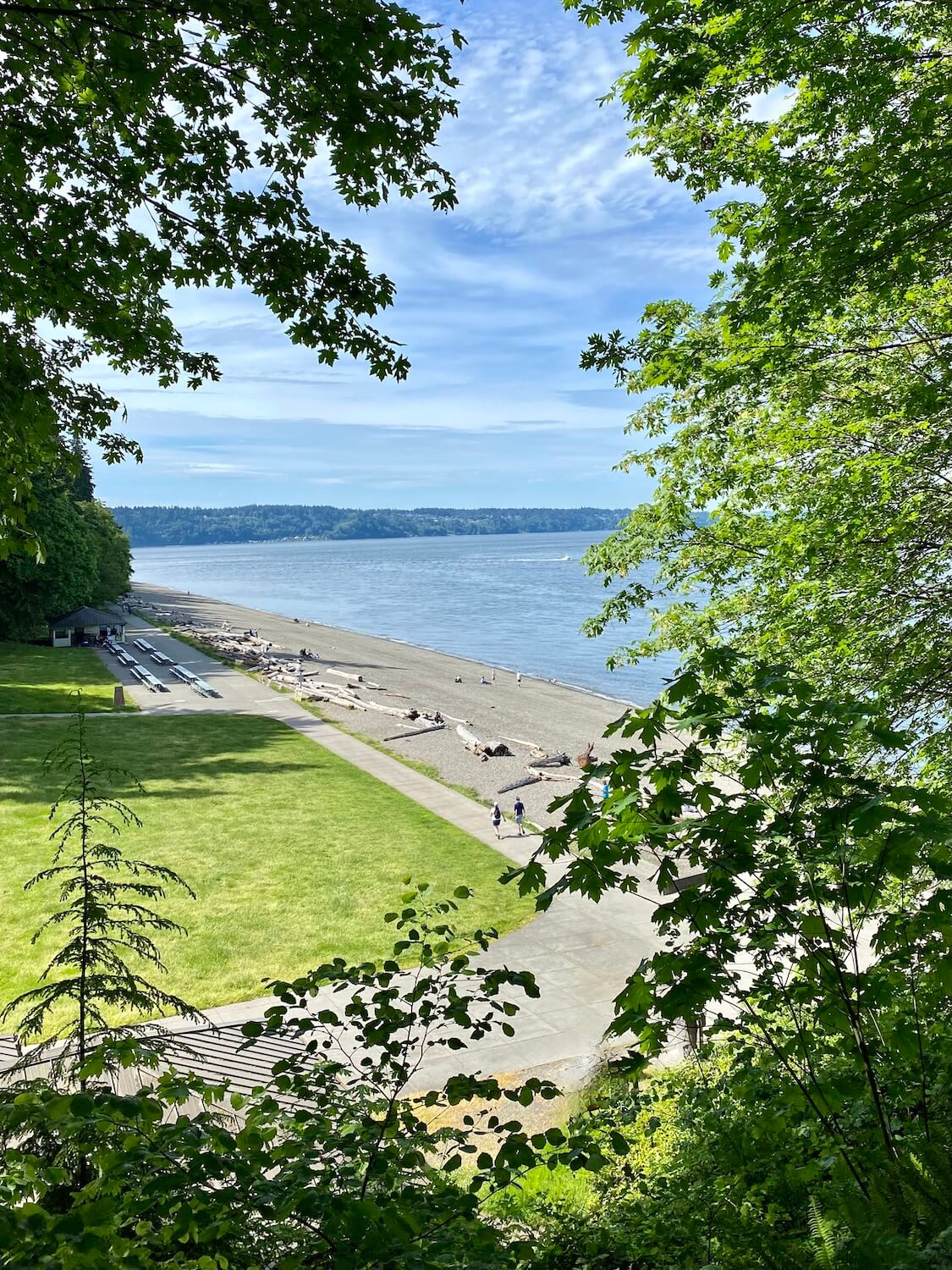 A view of Owen Beach at Point Defiance Park reveals a long stretch of pebble beach as seen through several green leafy trees.