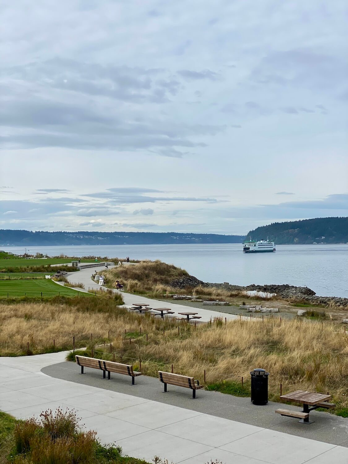 Dune Peninsula Park offers outstanding beauty to those wishing to have direct eyesight access to the Salish Sea.  Here, a Washington State Ferry travels from Vashon Island to Tacoma Washington.  A paved path winds through wavy seagrass.
