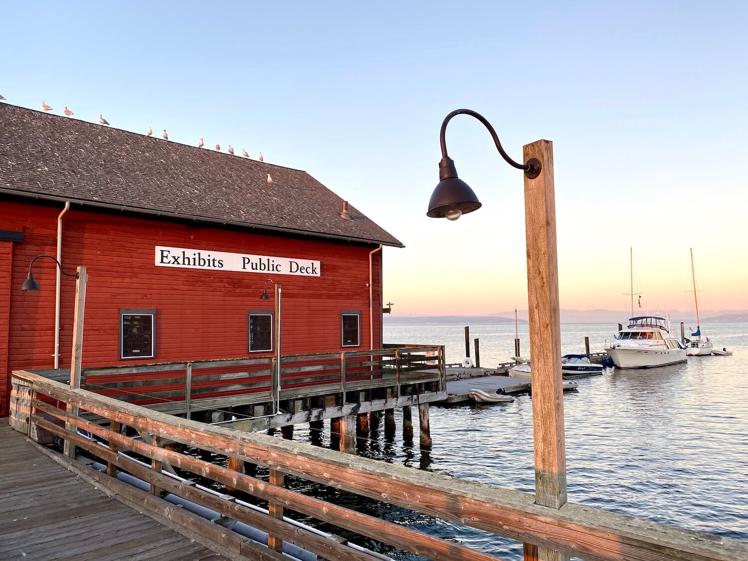 The Coupeville Wharf is a fun thing to do on Whidbey Island. The red wood building is entirely over the water on a dock while a few boats are tied to the pier. In the foreground is a curved metal lamp with a light bulb coming from the fixture. There are a number of seagulls sitting on the point of the wooden roof. The sunset is casting a pinkish yellow glow on the hills in the background.