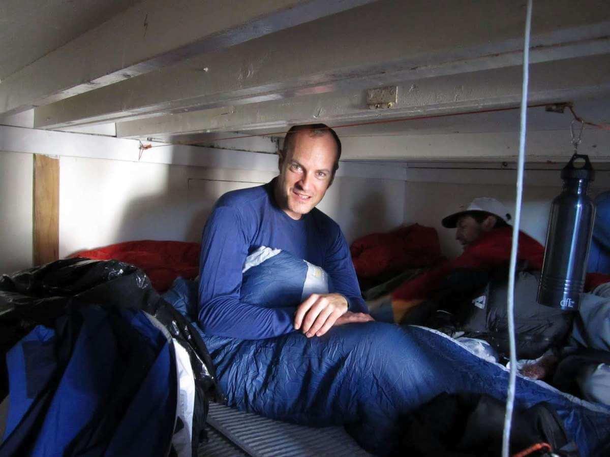 Matthew Kessi wakes up at Camp Muir before hiking to the summit of Mt. Rainier