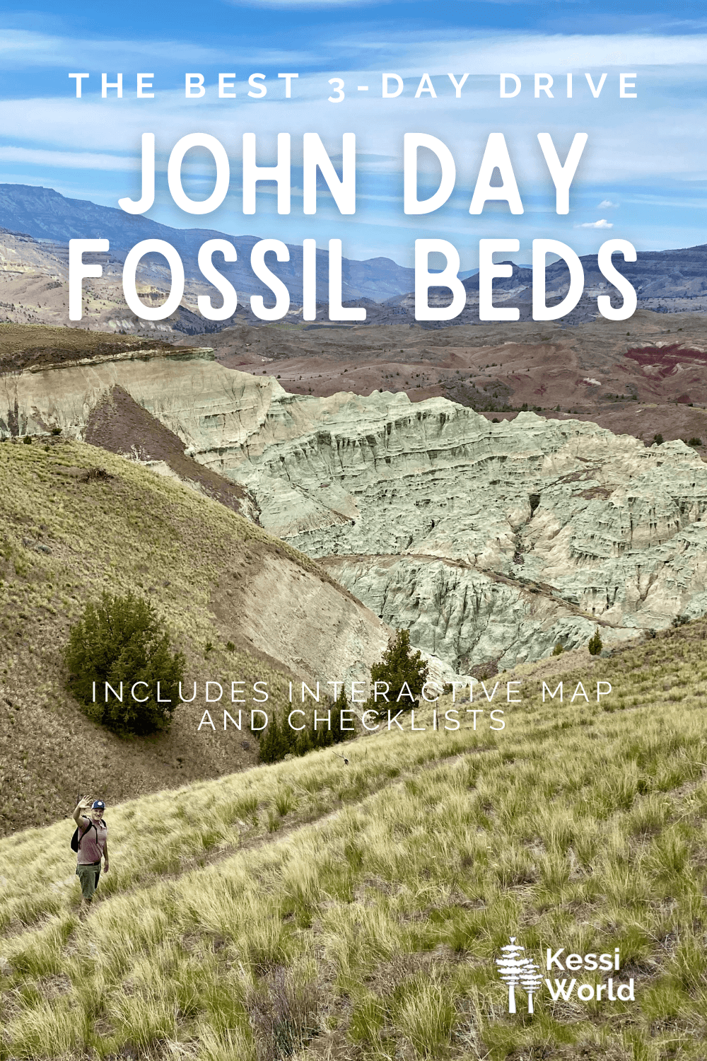This Pinterest pin shows Matthew Kessi waving in the distance on a hiking path with the Blue Basin part of the John Day Fossil Beds National Monument in the background.  The stacks of greenish blue lined canyon ridges pop against the rest of the landscape with brown hills under a blue sky.