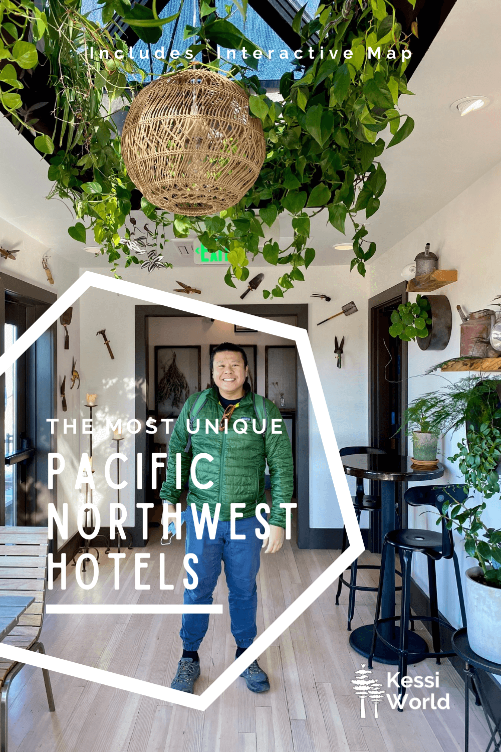 This Pinterest Pin shows an asian man standing in an atrium with the white letters saying the most unique Pacific Northwest hotels. He's smiling and there are all kinds of plants in cool containers on the wall and ceiling.