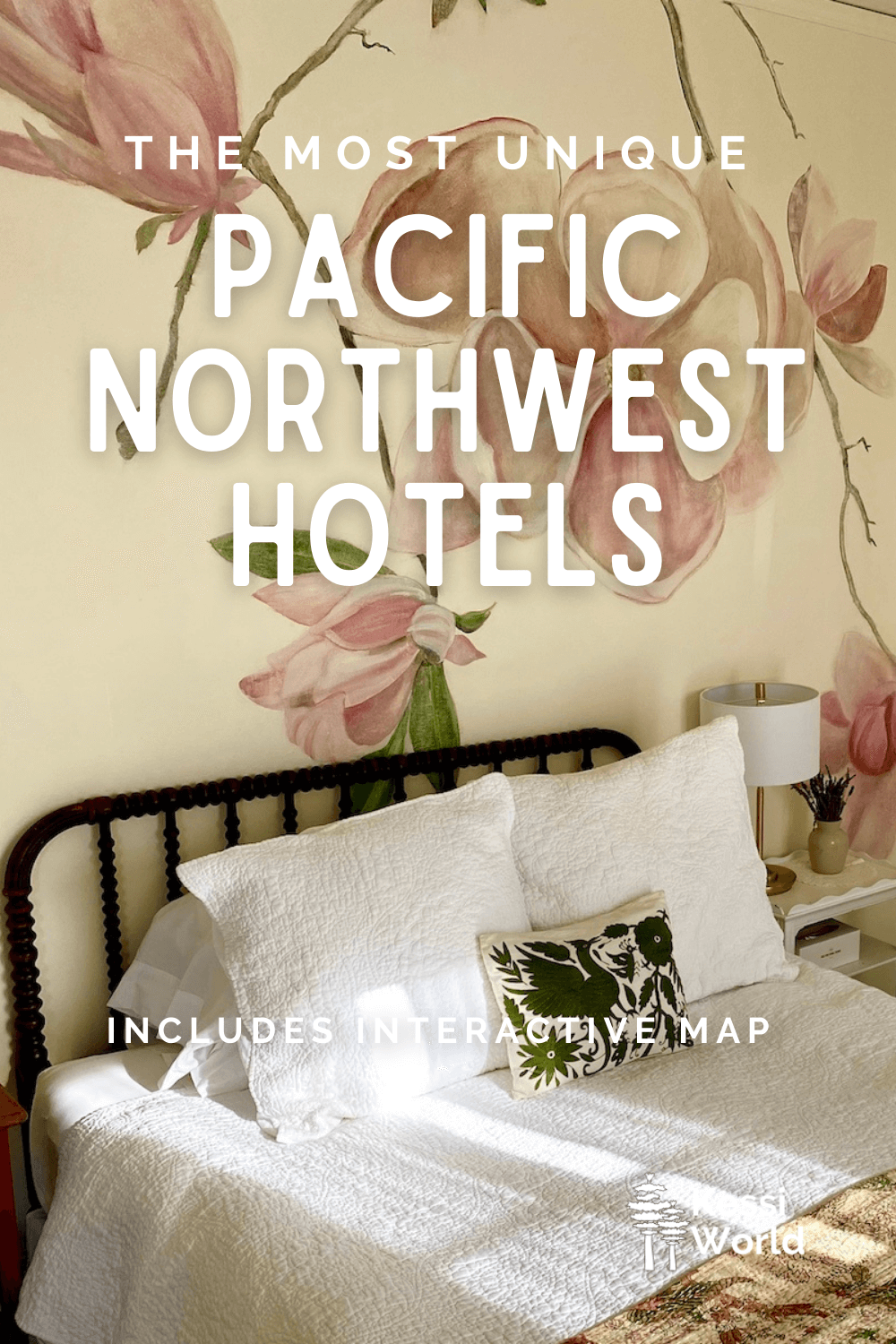 This Pinterest pin shows a brightly colored hotel room with beautiful artwork on the wall painted pink flowers.