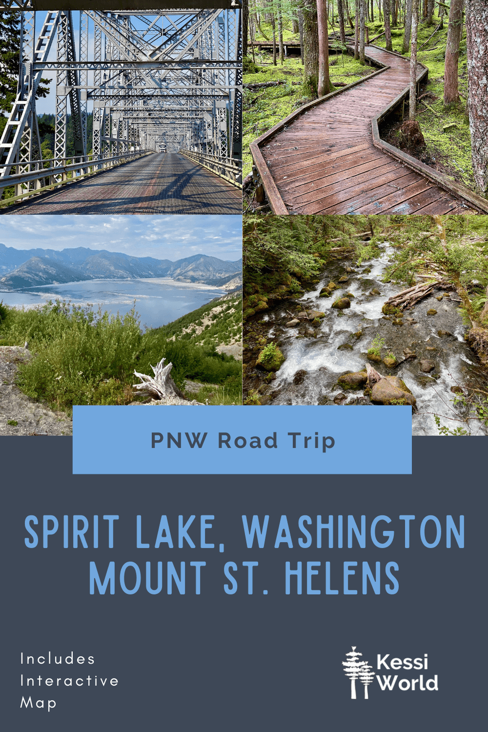 This Pinterest Pin talks about a Pacific Northwest Road Trip to Spirit Lake, Washington, which cuts through Mount St. Helens. The colors are blue and light blue and there are four small square photos of various natural features on the itinerary.