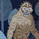 A drawing of Sasquatch from a Coast Salish artist depicts him walking in the forest with rounded trees. He has piercing blue eyes and purple mouth with black drawn in features around his face. The rest of him is different swirls of browns depicting fur.