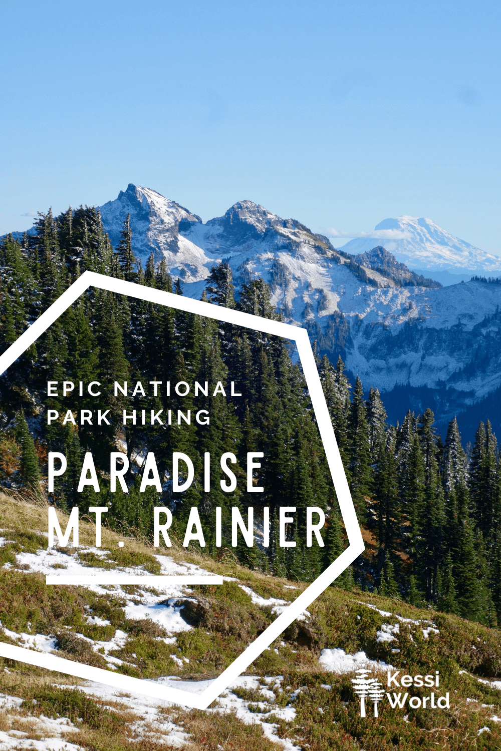 This Pinterest pin shows a view from Mt. Rainier looking towards Mt. Adams with light patches of snow in the foreground and thin alpine fir trees.