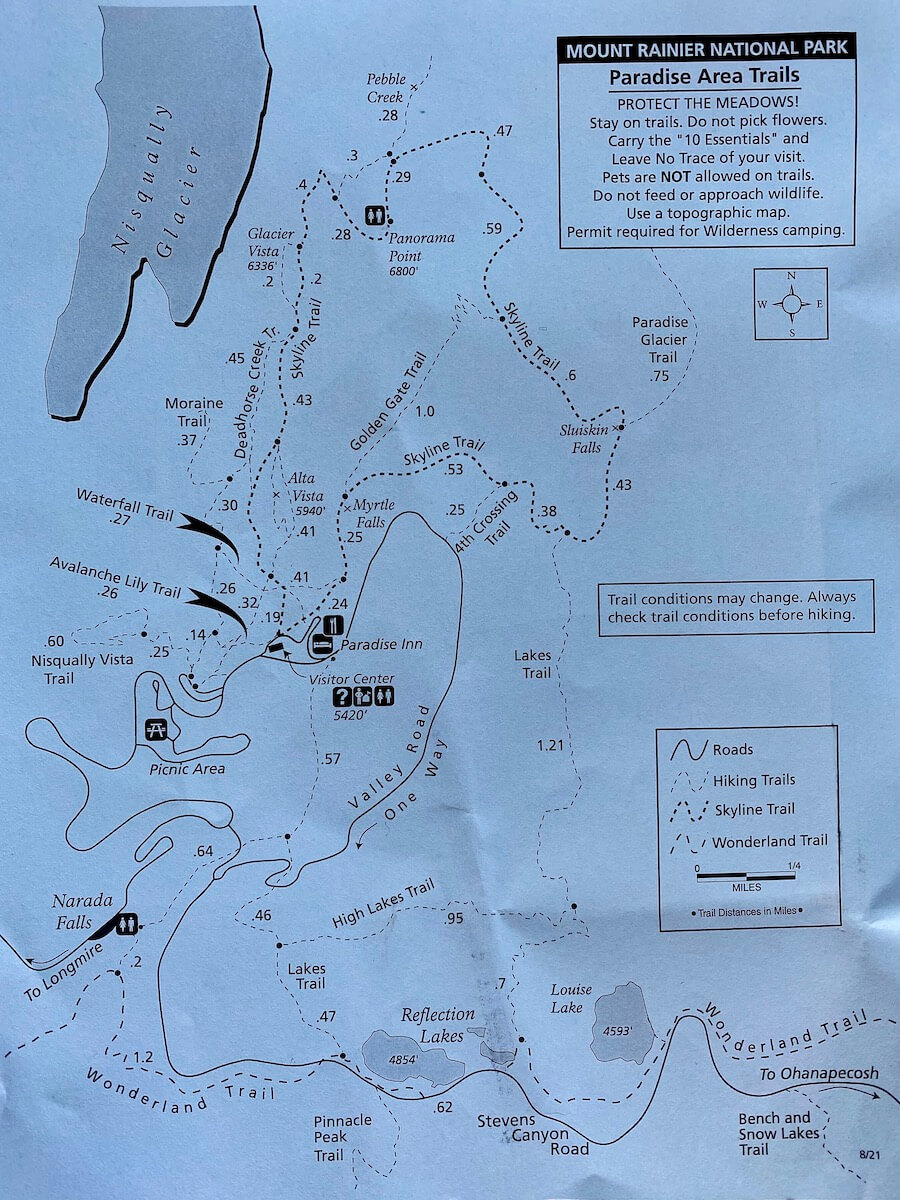 Map of hiking trails around Paradise on Mt. Rainier. The paper is blue with black print.